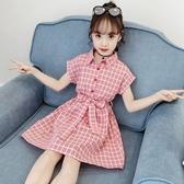 女童格子洋裝夏裝夏季新款韓版兒童洋氣女孩裙子童裝公主裙 快速出貨