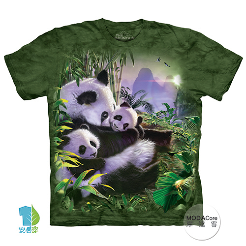 【摩達客】(預購)(大尺碼4、5XL)美國進口The Mountain 貓熊抱抱 純棉環保藝術中性短袖T恤