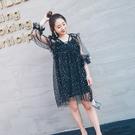 洋裝(兩件套)-長袖鏤空蕾絲亮片短款女裙裝73pu75【巴黎精品】