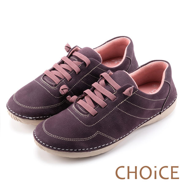 CHOiCE 休閒舒適 鬆緊帶反毛牛皮休閒鞋-紫色