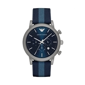 【Emporio Armani】美式經典帆布三眼日期時尚腕錶-軍藍款/AR1949/台灣總代理公司貨享兩年保固