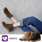 韓系時尚必備磨砂素面拉鍊圓頭方跟短靴/4色/35-43碼(RX1406-18-50) iRurus 路絲時尚