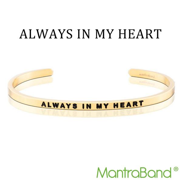 Mantraband   ALWAYS IN MY HEART 永遠在心中 - 悄悄話金色手環 台灣官方總代理