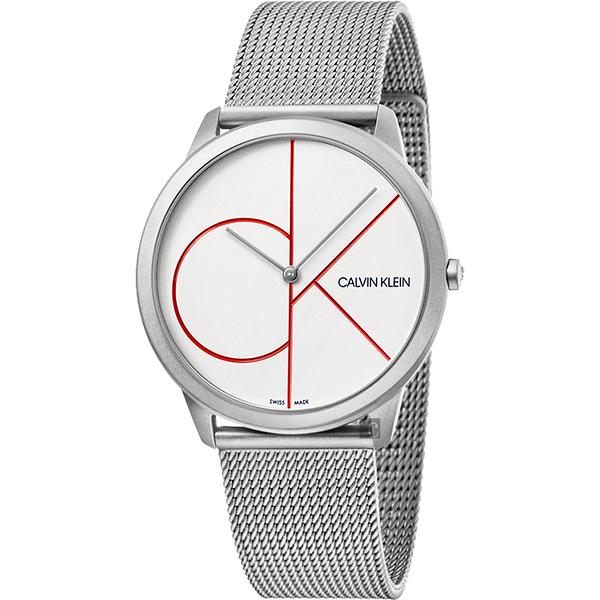 Calvin Klein CK Minimal 經典大LOGO手錶-白x銀/40mm K3M51152