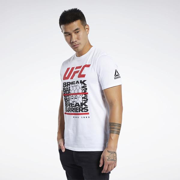 REEBOK UFC FG CAPSULE 男裝 短袖 休閒 純棉 修身 羅紋 白【運動世界】FK2350