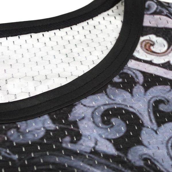 男士短袖t恤圓領修身上衣夏季日系滌綸內搭網眼男裝半袖潮哪吒