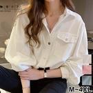 【QV3245】魔衣子-氣質壓釦雙口袋長袖襯衫