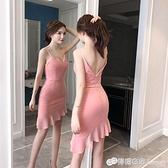 夏季新款夜場女裝氣質性感洋裝禮服心機不規則吊帶小黑裙仙 618購物節