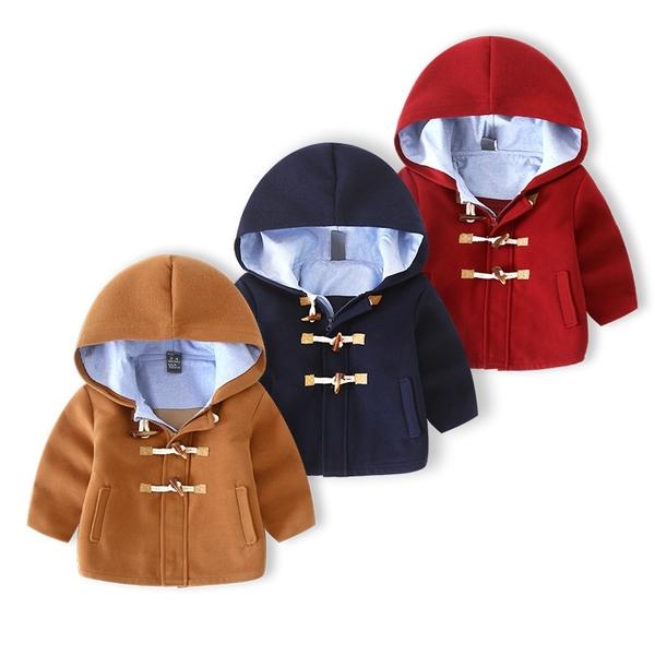 經典英倫風牛角扣拉鍊連帽毛尼外套 橘魔法 Baby magic 現貨 兒童 童裝 聖誕紅外套