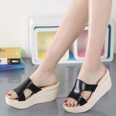 舒適真皮涼鞋 坡跟厚底鞋 高跟真皮一字型拖鞋《小師妹》sm1593