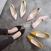 矮跟貓跟鞋單鞋  低跟鞋新款韓版百搭尖頭黑色高跟鞋女 俏腳丫