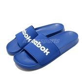 Reebok 拖鞋 Classic Slide 藍 白 男鞋 女鞋 基本款 復古 大LOGO 舒適好穿【ACS】 EH0349