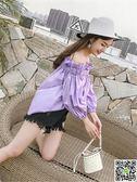 韓國小心機一字肩上衣女夏寬鬆顯瘦荷葉邊露肩襯衫chic風海邊度假 年終狂歡