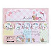 〔小禮堂〕Hello Kitty 日製自黏便利貼《粉長條格紋》便條6 種圖案90 張490