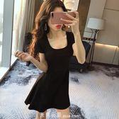 洋裝夏季新款性感赫本短裙女韓版時尚夜場收腰顯瘦A字短袖連身裙 「米蘭街頭」