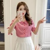 襯衫小清新格子襯衫女2020夏季新款韓版百搭時尚蝴蝶結帶短袖襯衣潮新年交換禮物