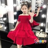 親子裝 女童洋裝2019夏裝新款母女洋氣一字肩蛋糕裙親子裝兒童網紅公主 1色