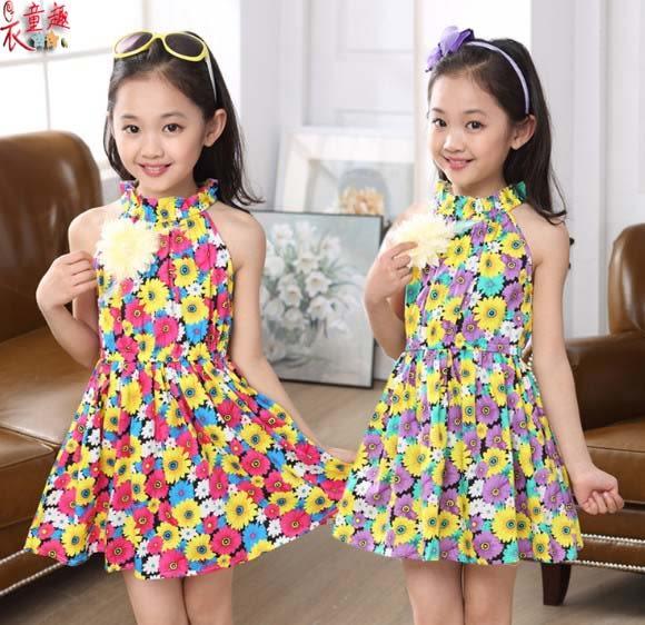 衣童趣 ♥韓版甜美 碎花繞頸 連身洋裝 氣質時尚 公主田園風蓬蓬裙 四色可選