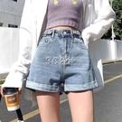 牛仔短褲女春夏寬鬆新款高腰顯瘦港味ins卷邊百搭a字闊腿褲子