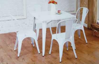 【南洋風休閒傢俱】 80x80方桌+曼尼椅 美式復古吧椅 鐵板吧椅 復古美式 鐵藝復刻 (524-13)