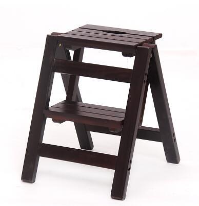 實木家用多功能折疊梯架創意樓梯椅梯凳室內多用單只價【二層折疊梯深胡桃色】