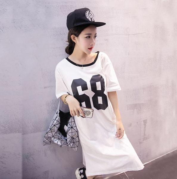 2017夏新款韓版系帶數字印花 寬鬆大版 運動休閒短袖t恤裙