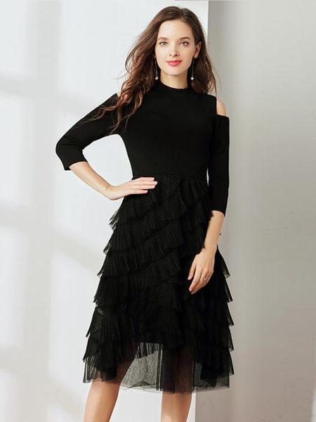 晚宴禮服冬季網紗露肩針織蛋糕裙顯瘦晚禮服女洋裝【限時八五折】