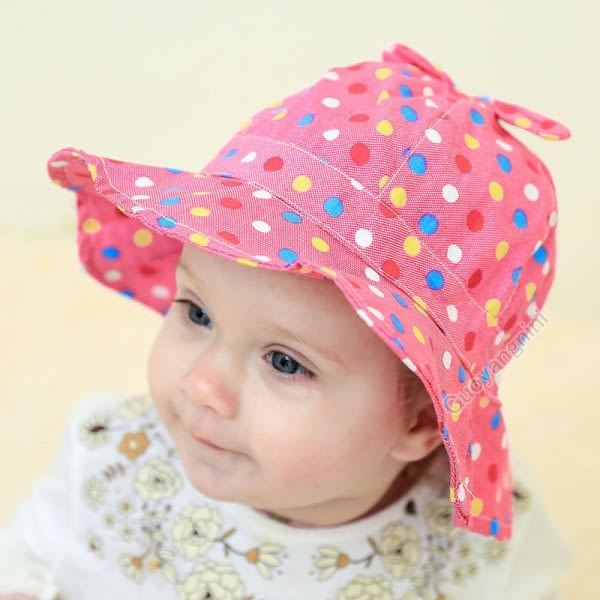 現貨 純棉牛仔點點遮陽帽 嬰兒 寶寶 女童 太陽帽 防曬帽 小童帽 有防風帶 盆帽【B697】
