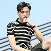 【免運】短袖polo衫 新款早男士短袖t恤條紋翻領polo衫男韓版潮流半袖男夏裝