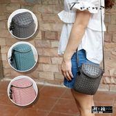 『潮段班』【GN000C07】多款顏色質感編織格紋百搭細背帶側背包斜背包女用拉鍊小背包手機包