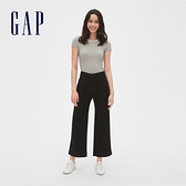 Gap女裝 活力亮色寬管休閒長褲442191-純正黑色