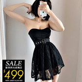 克妹Ke-Mei【ZT61421】暗黑ins泫雅酷感併接蕾絲腰封平口洋裝