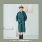外套   南瓜袖靜謐綠長版外套.風衣  單色-小C館日系