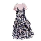 短袖套裝(兩件套)-針織衫印花雪紡吊帶裙女裙子73yd46【時尚巴黎】