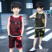 中大童男孩休閒無袖背心短褲迷彩兩件套2018夏裝男童新款運動套裝-Ifashion