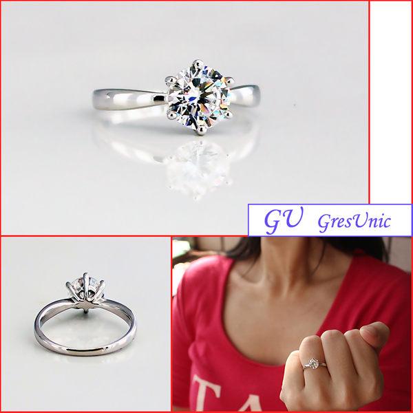 【GU鑽石】A19 求婚戒指生日禮物白金訂婚戒指鋯石戒指 Apromiz 1克拉六爪經典造型款鑽戒 女戒