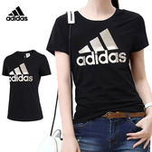 Adidas Logo Tee 女 黑 金 短袖上衣 T恤 短T 愛迪達 運動上衣 羅紋圓領 棉T DM3106