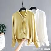 2019秋季新款襯衫女長袖雪紡衫系帶釘珠襯衣設計感小眾上衣打底衫