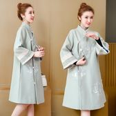 中國民族風漢服古裝大碼女裝冬刺繡呢子大衣中長款改良旗袍唐裝