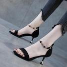 彩色大東涼鞋女2020夏季新款一字扣涼鞋女中跟細跟涼鞋高跟涼鞋女 果果輕時尚