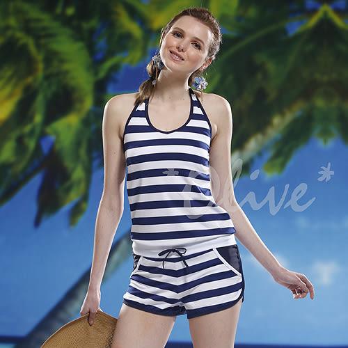 ☆小薇的店☆泳之美品牌【海洋風條紋】時尚二件式連身褲泳裝特價990元 NO.8601(M-XL)