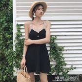 細肩帶洋裝 針織連身裙女V領撞色裙子復古氣質吊帶打底短裙A字裙 傾城小鋪