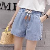 夏季新款韓版寬鬆緊帶薄款休閒牛仔短褲大碼女裝闊腿熱褲外穿