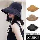 OT SHOP帽子‧素色透氣棉帽簷軟鐵絲...