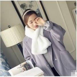 預購 - 韓版多色仿獺兔毛時尚保暖毛絨圍巾加厚交叉小圍脖