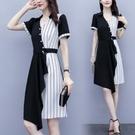 洋裝V領拼色裙子中大尺碼M-4XL大碼女裝赫本氣質條紋拼接修身顯瘦中長款連身裙R025B-7115.胖胖美