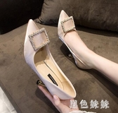 大尺碼新款時尚尖頭淺口韓版高跟鞋女 舒適百搭金屬方扣細跟單鞋 XN7044『黑色妹妹』