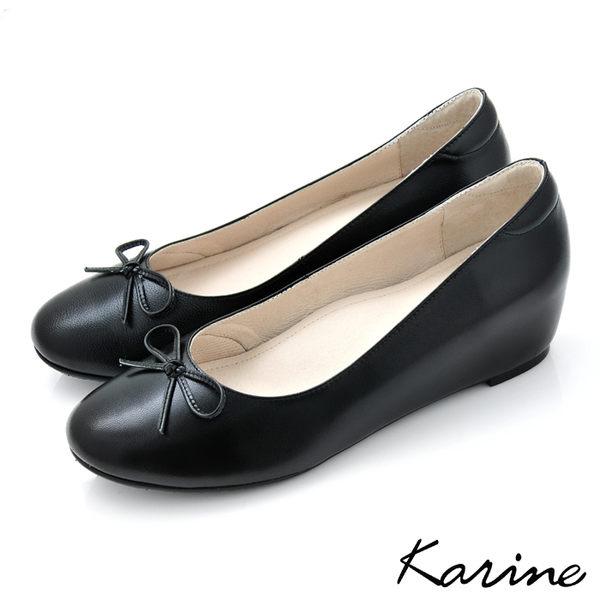 全真皮內增高楔型娃娃鞋-時尚黑‧MIT台灣製‧karine