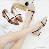 軟妹涼鞋女季新款韓版chic學生百搭尖頭粗跟中跟單鞋女鞋 樂芙美鞋
