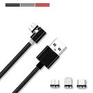 L型磁吸3合1可旋轉充電線 三合一磁吸線 快速充電線 Micro USB Type-C iPhone 快充線